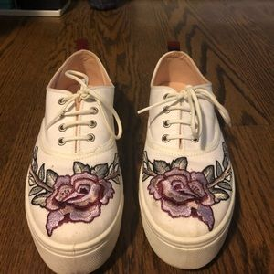 Top shop Floral Embroidery platform sneakers